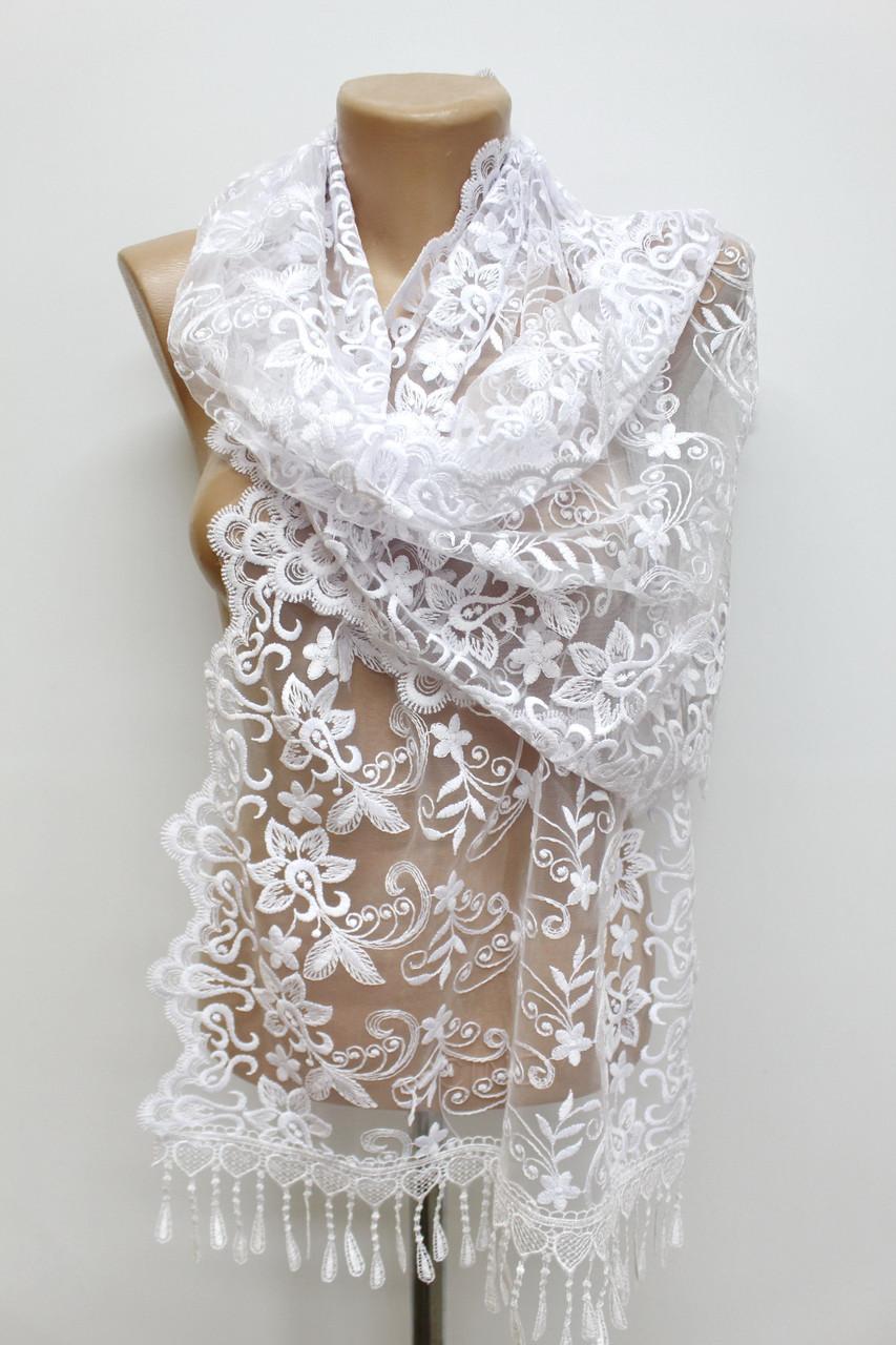 Шарф айвори ажурный фатиновый свадебный церковный 151025