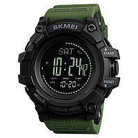 Skmei 1358  processor зеленые мужские часы с шагомером и барометром, фото 1
