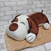 Детская плюшевая игрушка подушка плед 3 в 1 собака коричневая