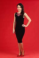 Черное женское платье вышитое, размер 44