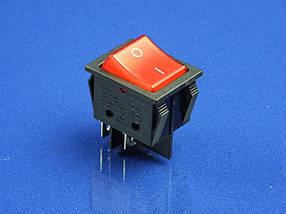 Кнопка черно-красная, 2 положения, KCD4 (250V, 25A, 4 контакта)