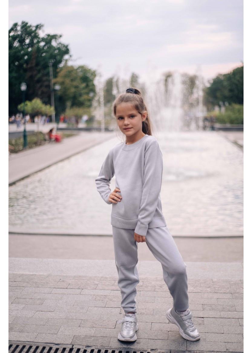 """Теплый вязаный костюм комплект на девочек """"Глория"""" серый"""