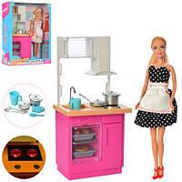 Кукла DEFA 30см, кухня, мебель 31-14,5см, посуда, свет, 2 цвета, бат-таб, в кор, 25,5*32*9,5см (18шт)