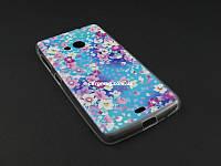 Чехол Diamond TPU с рисунком для Nokia Lumia 535 фиолетоый принт