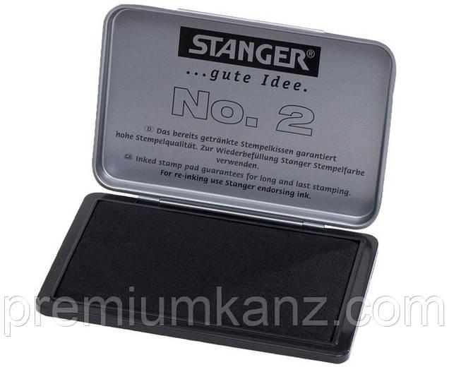 Подушка штемпельная черная Stanger, металлическая коробка 7 х 11 см