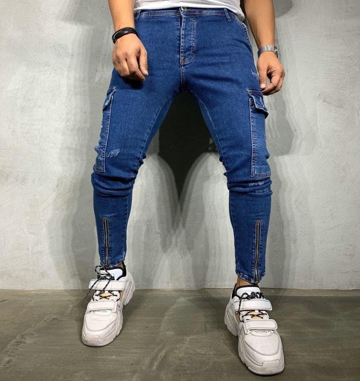 Джинсы - Мужские синие джинсы джогеры / чоловічі джинси сині Premium quality джогери