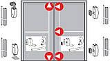 Антипаніка Dorma PHA 2000 для 2-стулкових штульпових дверей з 5-точковим замиканням з зовнішньою ручкою, фото 2