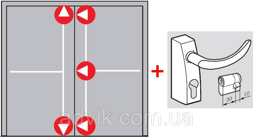 Антипаніка Dorma PHA 2000 для 2-стулкових штульпових дверей з 5-точковим замиканням з зовнішньою ручкою