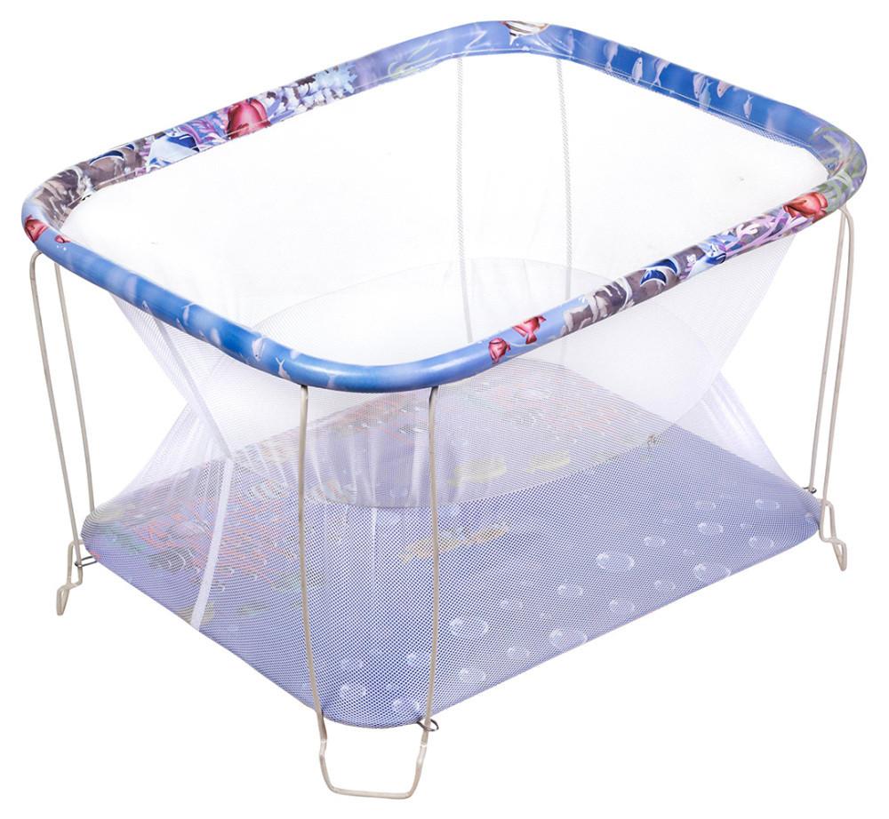 Манеж Qvatro Classic-02 мелкая сетка  синий (аквариум)