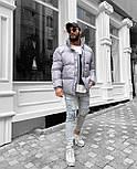 Пуховик - Мужской пуховик серый без капюшона / чоловіча куртка без капюшону, фото 4