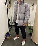 Пуховик - Мужской пуховик серый без капюшона / чоловіча куртка без капюшону, фото 5