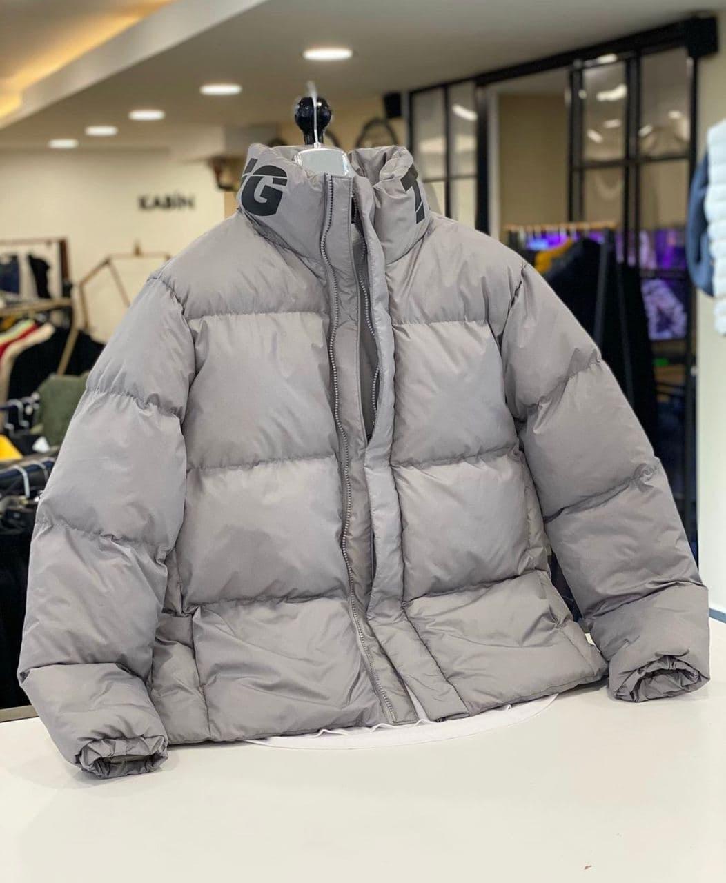 Пуховик - Мужской пуховик серый без капюшона / чоловіча куртка без капюшону