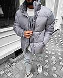 Пуховик - Мужской пуховик серый без капюшона / чоловіча куртка без капюшону, фото 2
