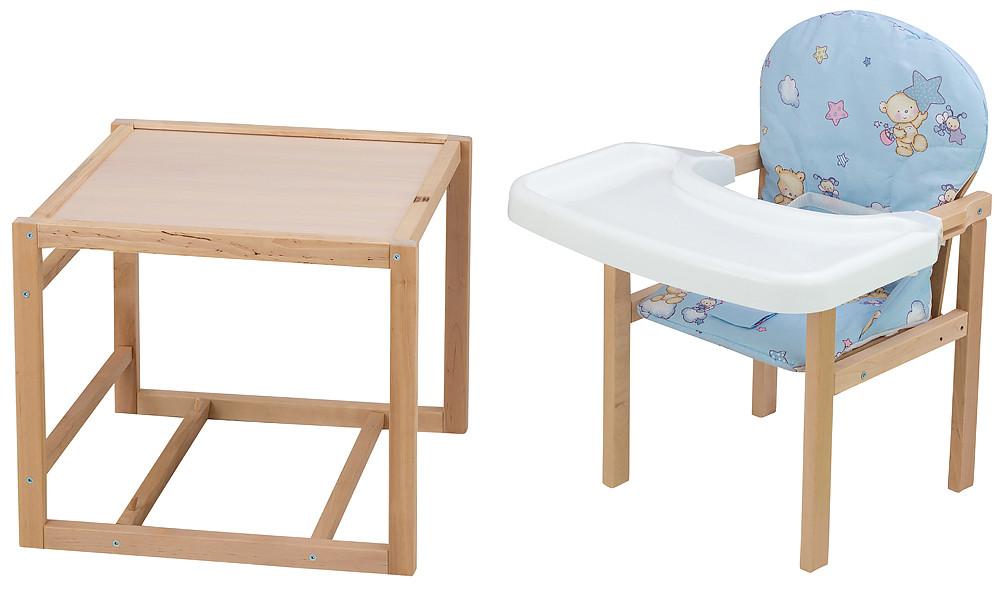 Стульчик- трансформер Babyroom Пони-230 eko без лака пластиковая столешница  голубой (мишка, пчелка, звезда)