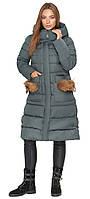 Изумрудная женская куртка с капюшоном зимняя модель 717 (ОСТАЛСЯ ТОЛЬКО 44(M))