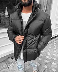 Пуховик - Мужской пуховик черный без капюшона чоловічак куртка без капюшону