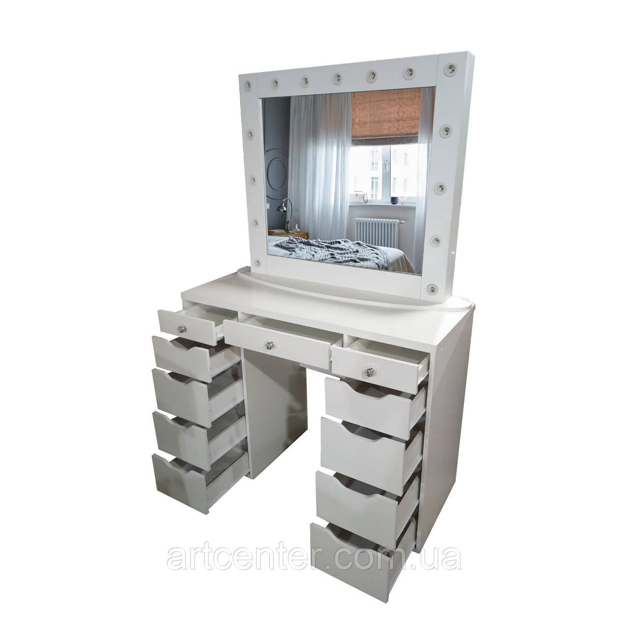 Двотумбовый стол для визажиста, стол для макияжа
