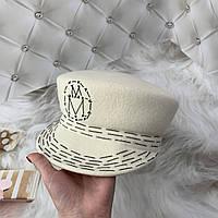 Женский шерстяной картуз, кепи, фуражка с вышивкой Maison Michel молочный, фото 1