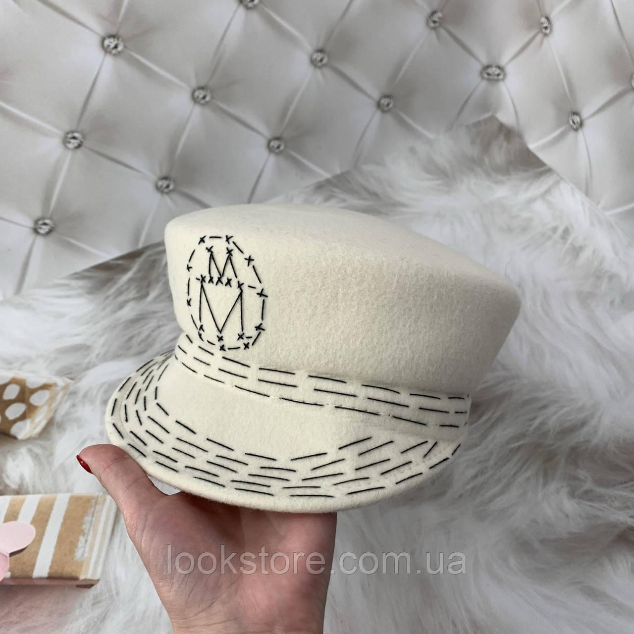 Женский шерстяной картуз, кепи, фуражка с вышивкой Maison Michel молочный