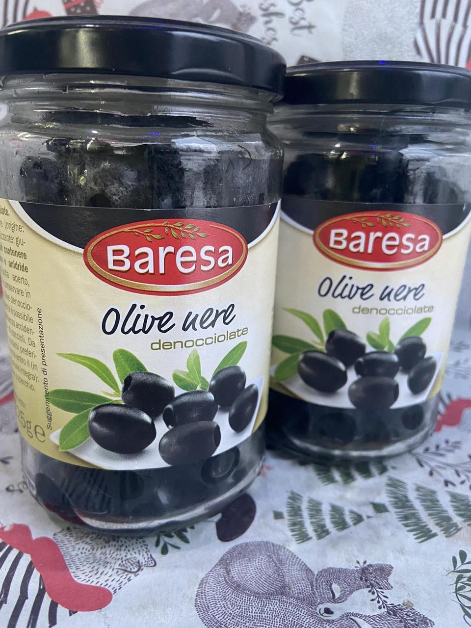 Оливки черные без косточек baresa 125грам Італія