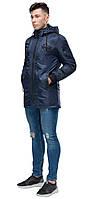 Синяя мужская молодежная парка осенне-весенняя стандартной длины модель 19740 (ОСТАЛСЯ ТОЛЬКО 48(M)), фото 1