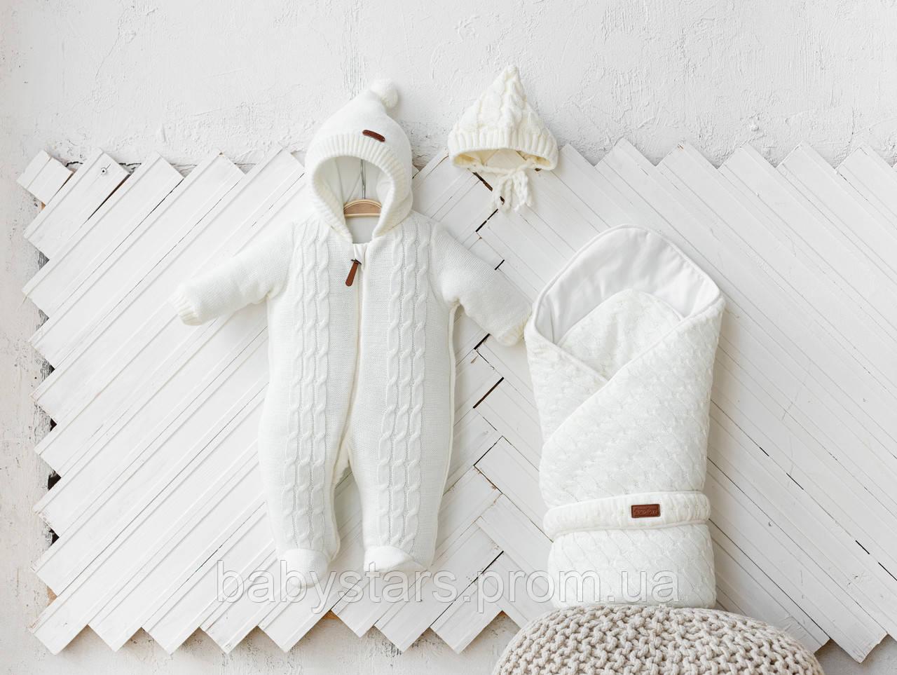 """Вязаный набор для новорожденных молочного цвета """"Tress+Косы"""": конверт + комбинезон + шапочка"""