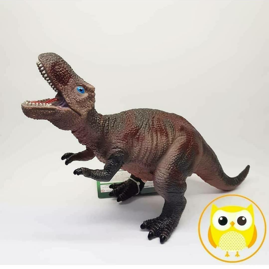 Динозавр музыкальный Q 9899-502 А (48/2) 4 вида, мягкий, резиновый, 35 см, в кульке [Пакет]