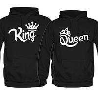 """Парные пайты худи кофты толстовки с принтом надписью """"Король/Королева"""""""