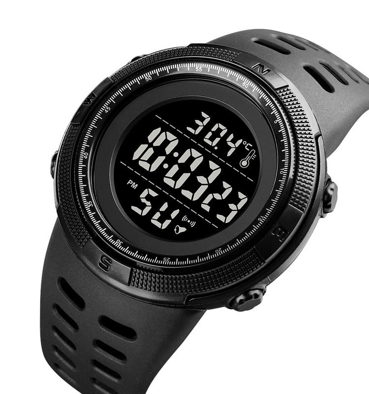 Мужские спортивные часы Skmei 1681  с термометром черные с черным циферблатом