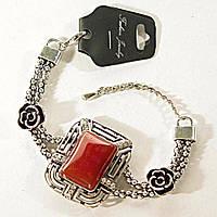 Браслет светлый метал - бусины, розы Сердолик - прямоугольный 25 мм