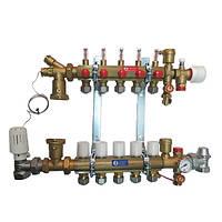Коллектор Giacomini в сборе для систем напольного отопления 4 выхода