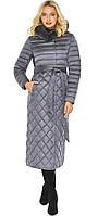 Жемчужно-серая куртка женская длинная зимняя модель 31012, фото 1