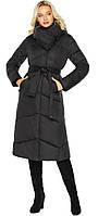 Куртка черная женская на зиму длинная модель 47260, фото 1