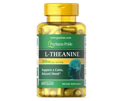 Puritan's Pride L-Theanine 200 mg 60 Caps, фото 2