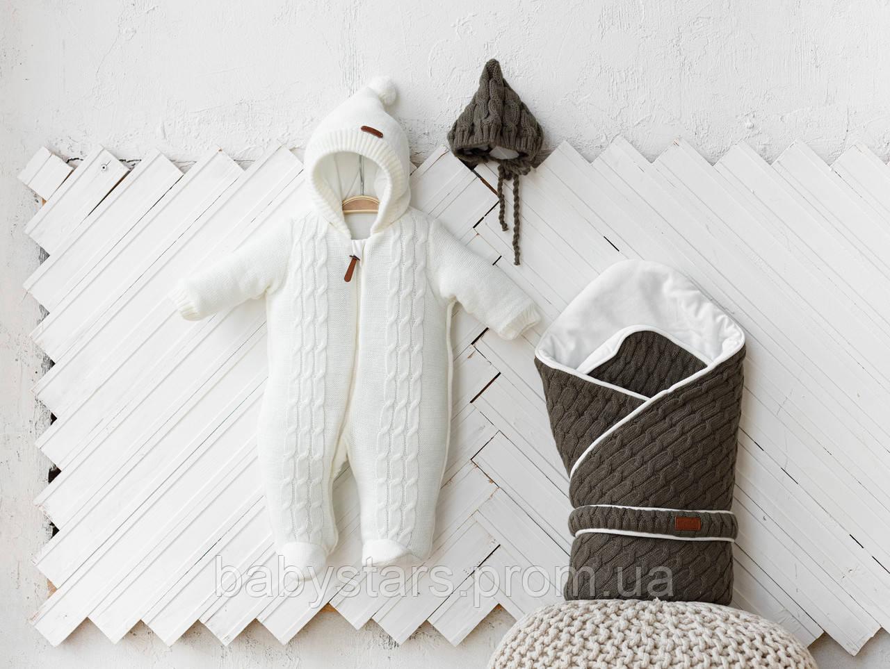 """В'язані комплекти для новонароджених """"Tress+Коси"""": конверт + комбінезон + шапочка"""