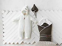 """В'язані комплекти для новонароджених """"Tress+Коси"""": конверт + комбінезон + шапочка, фото 1"""