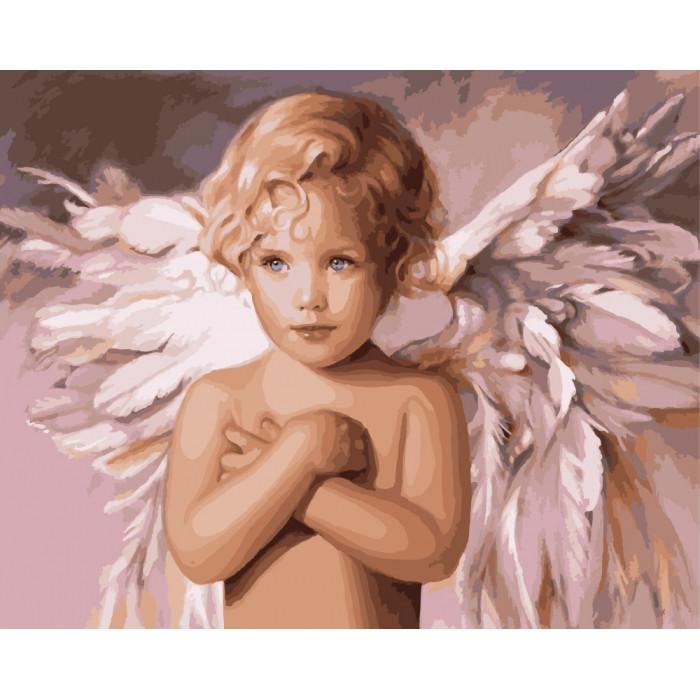 "Яркая картина раскраска по номерам Дети ""Ангел удачи"" 40х50 см KHO2315 живопись рисование в цифрах на холсте"