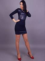 Модное женское платье с вставками из кожзама