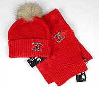 Теплый красный зимний набор шапка+шарф.