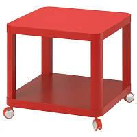 Журнальный стол на колесиках IKEA TINGBY (ИКЕА TINGBY) 50х50 см Красный (804.574.39)