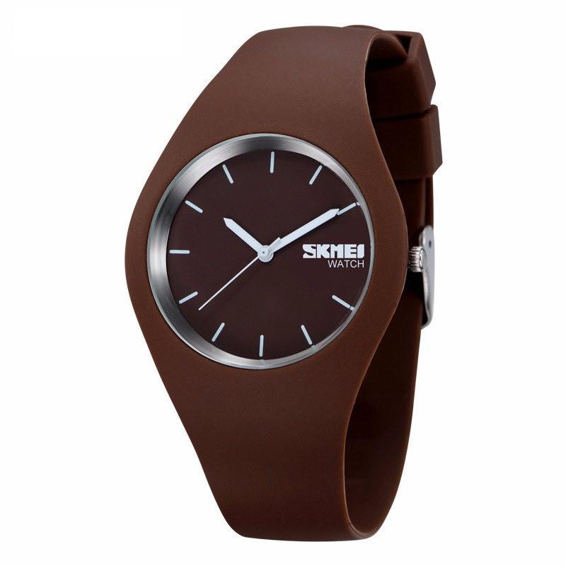 Skmei 9068 rubber  коричневые женские  часы