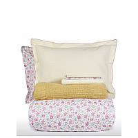 Набор постельное белье с пледом Karaca Home - Freya green зеленый евро