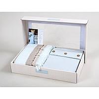 Набор постельное белье с пледом Karaca Home - Woodley mavi голубой евро