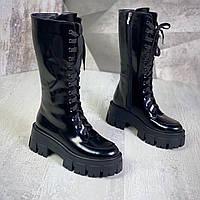 Жіночі шкіряні чоботи на шнурівці 36-40 р чорний