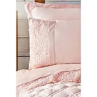 Набор постельное белье с одеялом Karaca Home - Carissa pudra пудра сатин (7 предметов)