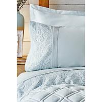 Набор постельное белье с одеялом Karaca Home - Carissa mavi голубой сатин (7 предметов)