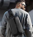 Однолямочний рюкзак Bange BG-7079 чоловіча міської вологозахисний USB-порт 6л чорний, фото 3