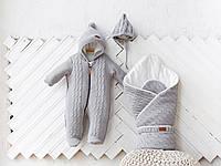 """Комплект на виписку для новонароджених """"Tress+Коси"""" з в'язки сірого кольору: конверт + комбінезон + шапочка, фото 1"""