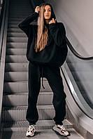 Костюм женский спортивный зимний на флисе Oversize черный осенний весенний