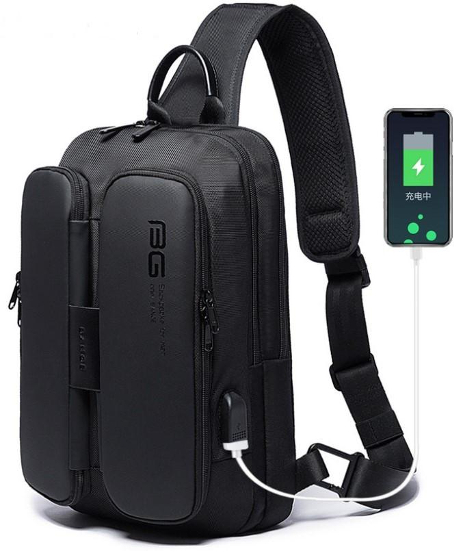 Однолямочний рюкзак Bange BG-7079 чоловіча міської вологозахисний USB-порт 6л чорний